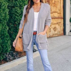 NWT POL Chenille Pocket Cardigan Soft Gray Sweater